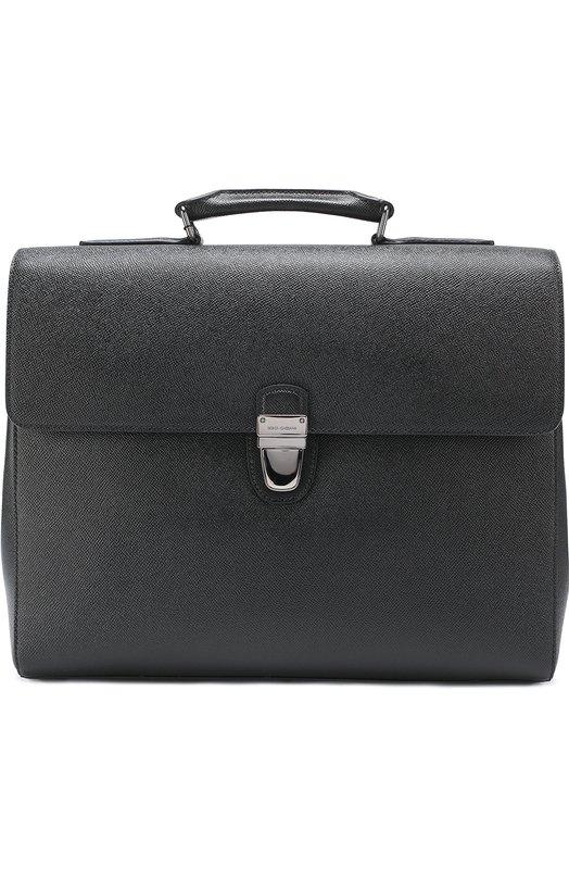 Кожаный портфель с внешним карманом на молнии Dolce & Gabbana 0115/BM1288/A1001
