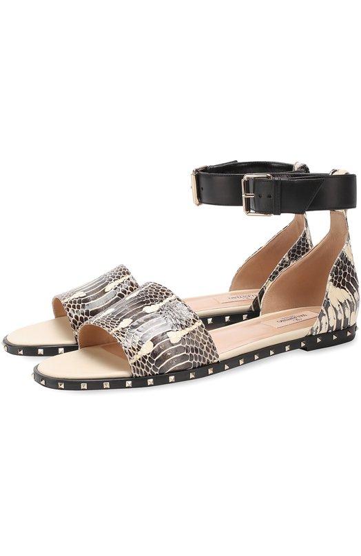 Кожаные сандалии Soul Rockstud с тиснением Valentino MW2S0B98/BSK