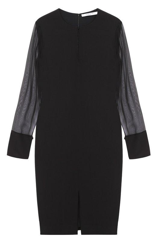 Платье прямого кроя с вырезом-капелька и прозрачными рукавами Givenchy 17Y/2013/300