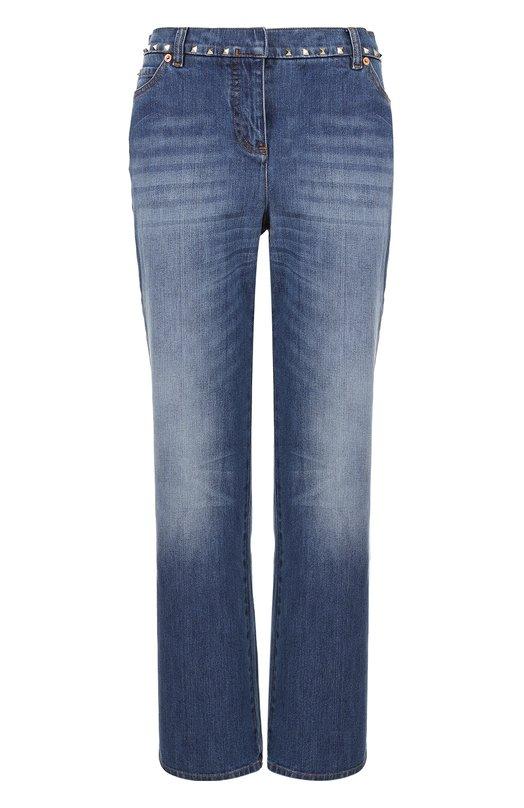 Купить Укороченные расклешенные джинсы с заклепками Valentino, MB3DD03B/2Q0, Италия, Голубой, Хлопок: 98%; Эластан: 2%;