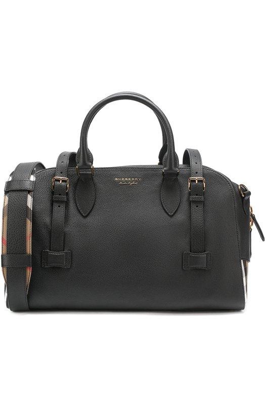 Кожаная дорожная сумка с плечевым ремнем и контрастной отделкой Burberry 4043805