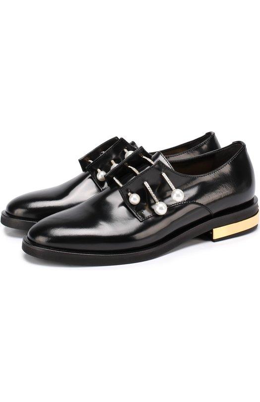 Купить Кожаные ботинки с декорированными булавками Coliac, CL009/FERNANDA, Италия, Черный, Кожа натуральная: 100%; Стелька-кожа: 100%; Подошва-резина: 100%; Отделка-металл: 100%; Отделка-стекло: 100%;
