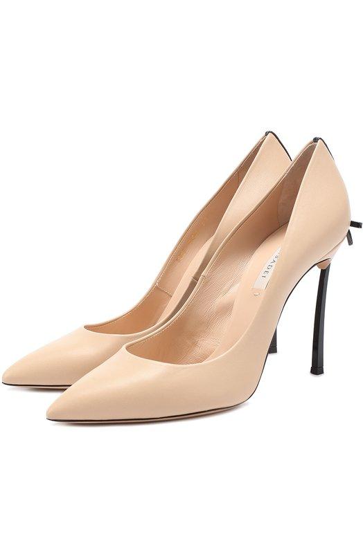 Кожаные туфли с бантом на шпильке Blade Casadei 1F207G100T/T708