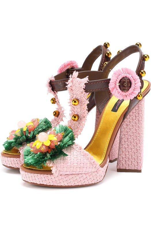 Плетеные босоножки Keira с декором Dolce & Gabbana 0112/CR0280/AG327