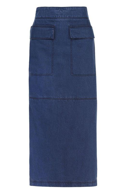 Джинсовая юбка-макси с оборками и накладными карманами Marni G0JDV27J00TCU62