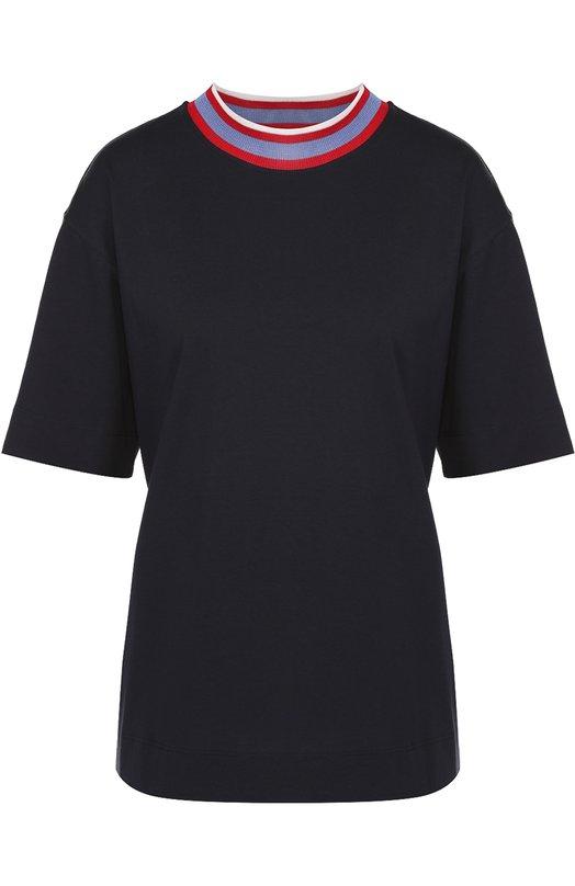 Хлопковая футболка свободного кроя с контрастной отделкой Marni THJET49EL3TCQ81
