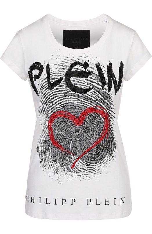 Хлопковая футболка с контрастным принтом и Philipp Plein S17C WTL0058 PJY002N