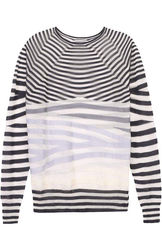Полупрозрачный пуловер в контрастную полоску с круглым вырезом Giorgio Armani 3YAM02/AM13Z