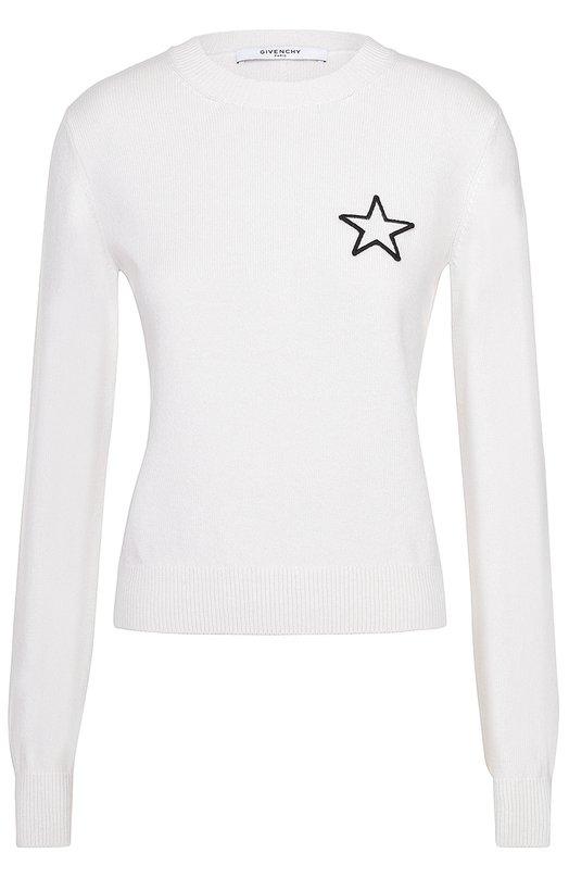 Кашемировый пуловер прямого кроя с контрастной отделкой в виде звезды Givenchy 17P/7894/505