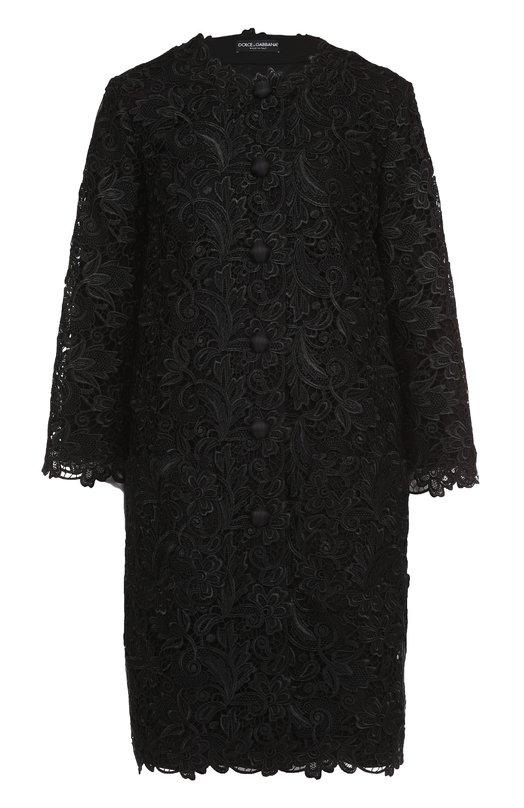 Кружевное пальто прямого кроя с укороченными рукавами Dolce & Gabbana, 0102/F0Q09T/FLM60, Италия, Черный, Подкладка-шелк: 92%; Подкладка-эластан: 8%; Вискоза: 56%; Полиамид: 28%; Хлопок: 16%;  - купить