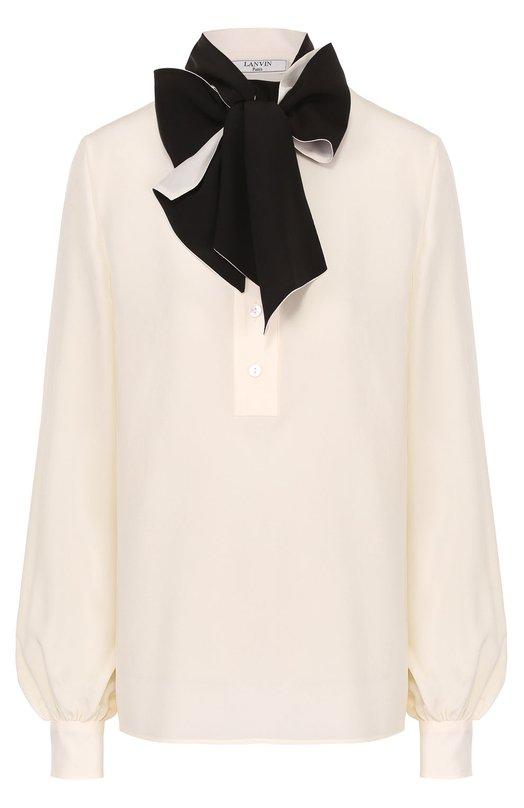 Шелковая блуза с накладными карманами и воротником-стойкой Lanvin RW-T06007-3429-P17