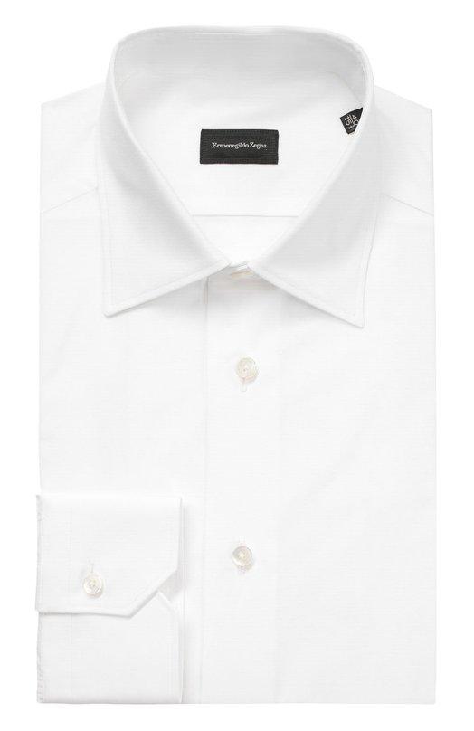 Купить Хлопковая сорочка с воротником кент Ermenegildo Zegna, 9039909MS0PA, Румыния, Белый, Хлопок: 100%;