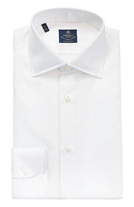 Купить Хлопковая сорочка с воротником кент Luigi Borrelli, EV08/TS5025, Италия, Белый, Хлопок: 100%;