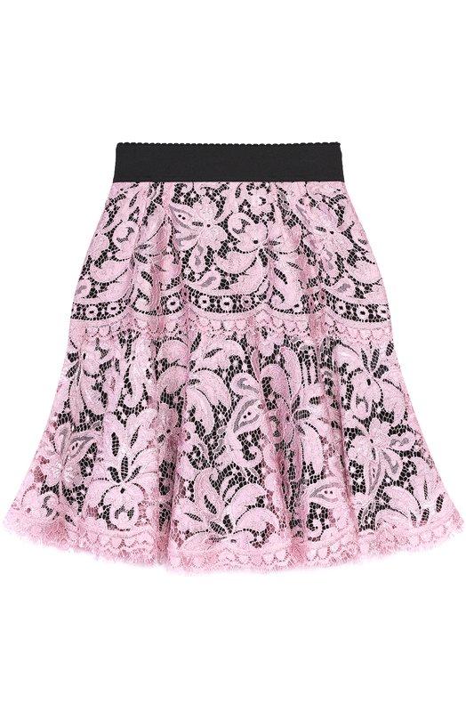 Купить Кружевная мини-юбка с контрастным поясом Dolce & Gabbana, 0102/F4AV0T/FLM0K, Италия, Розовый, Подкладка-шелк: 86%; Вискоза: 83%; Подкладка-хлопок: 8%; Подкладка-эластан: 4%; Подкладка-полиамид: 2%; Полиамид: 17%;