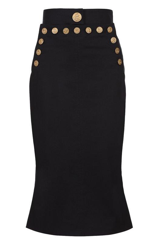 Облегающая юбка с контрастными декорированными пуговицами Dolce & Gabbana 0102/F4AUKT/FUFGD