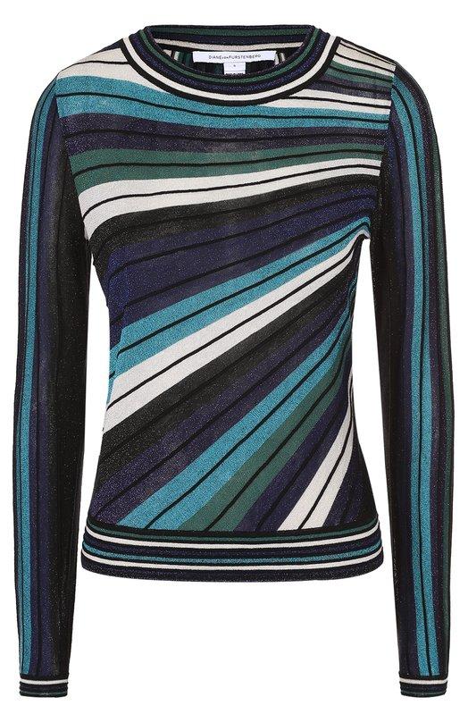 Пуловер в полоску с металлизированной отделкой Diane Von Furstenberg S902601N16