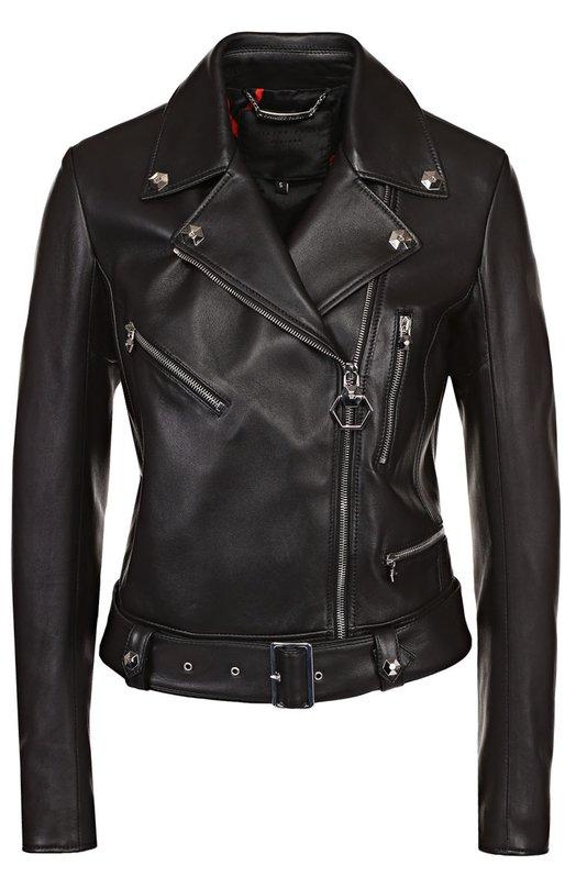 Укороченная кожаная куртка с косой молнией Philipp Plein S17C WLB0015 PLE005N