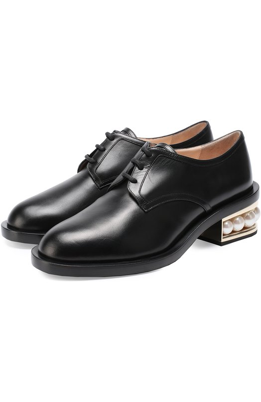Кожаные ботинки на каблуке с жемчужинами Nicholas Kirkwood