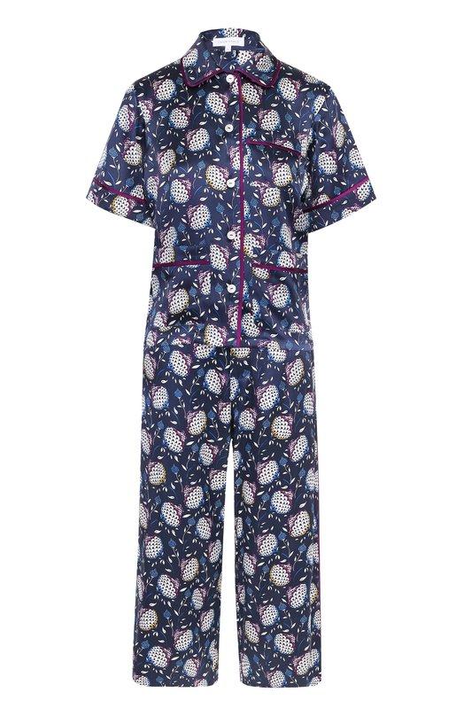 Шелковый пижамный комплект с контрастным принтом Olivia Von Halle DARIA/S0UMAYA