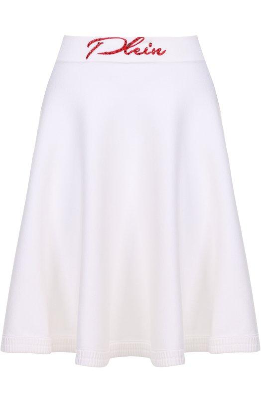 Расклешенная мини-юбка с контрастным логотипом бренда Philipp Plein S17C WKV0003 PKN002N