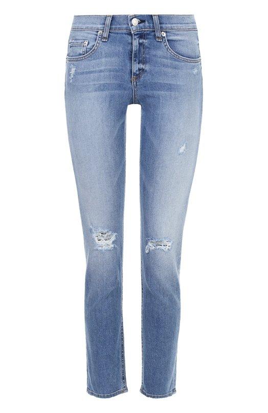Купить Укороченные джинсы с потертостями Rag&Bone, W1526K520GUN, США, Голубой, Хлопок: 98%; Полиуретан: 2%;