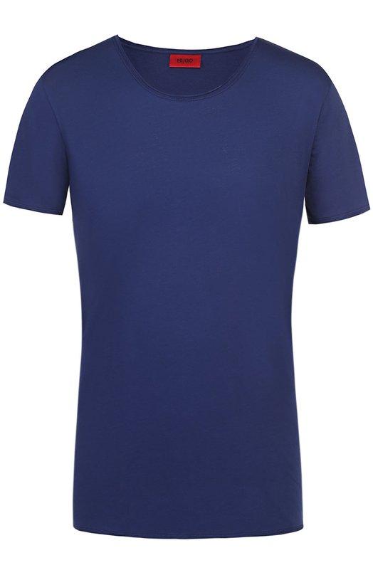 Хлопковая футболка с круглым вырезом и нагрудным карманом HUGO 50264814