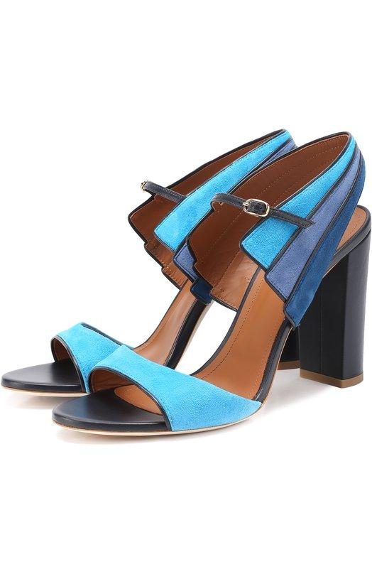 Замшевые босоножки на устойчивом каблуке Malone Souliers CAREEN 1/SUEDE/NAPPA