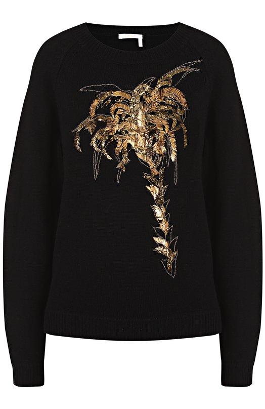 Пуловер свободного кроя с контрастной отделкой Chloe 17SMP12/17S560
