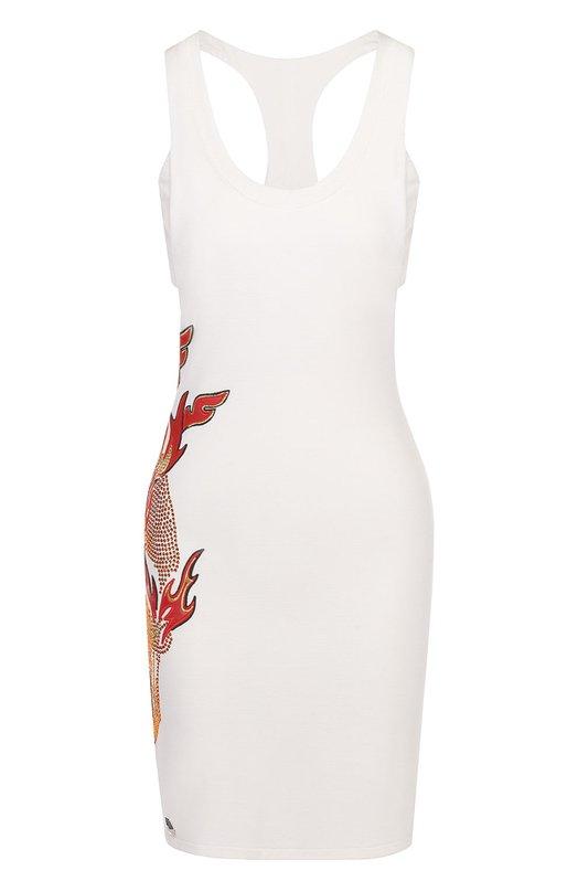 Приталенное мини-платье с контрастными стразами Philipp Plein S17C WTG0001 PJY002N