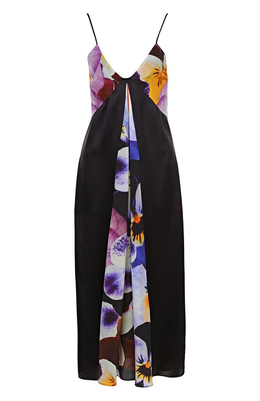 Шелковое платье-комбинация с цветочными вставками Christopher Kane 460975/UCP01