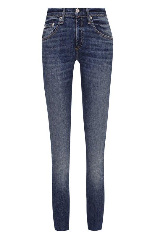 Купить Укороченные джинсы-скинни с потертостями Rag&Bone, W1502K520DIL, США, Синий, Хлопок: 98%; Полиуретан: 2%;