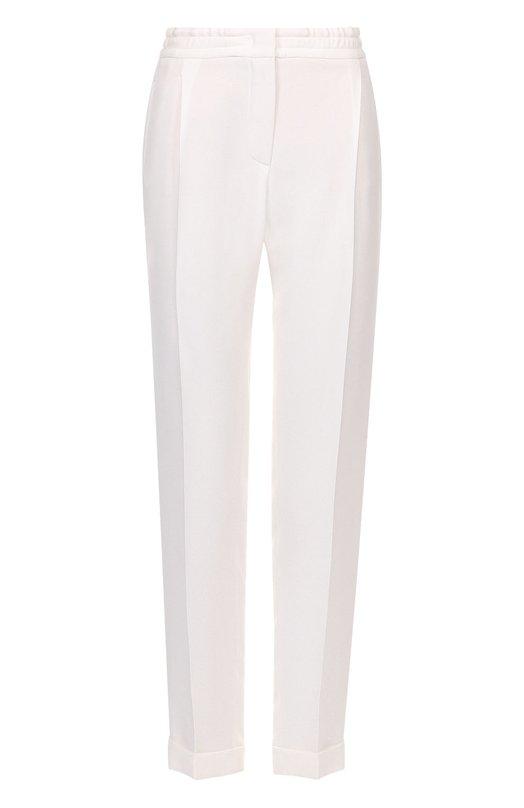 Купить Шелковые брюки прямого кроя с защипами и эластичным поясом Loro Piana, FAG1404, Италия, Белый, Шелк: 100%;