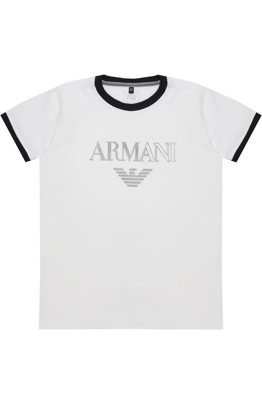 Футболка джерси с логотипом бренда Giorgio Armani 3Y4T02/4J0AZ/4A-10A
