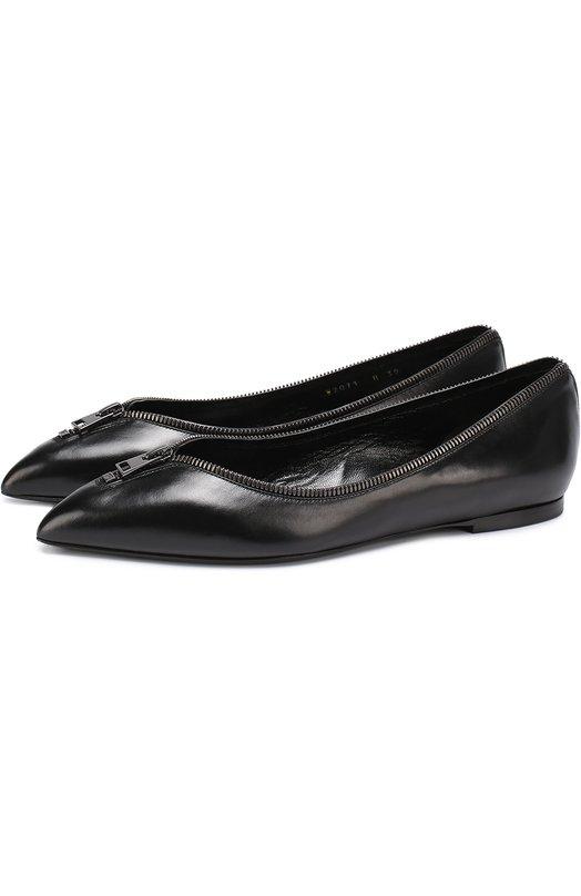 Кожаные балетки Zip с декором Tom Ford W2071R/SCA