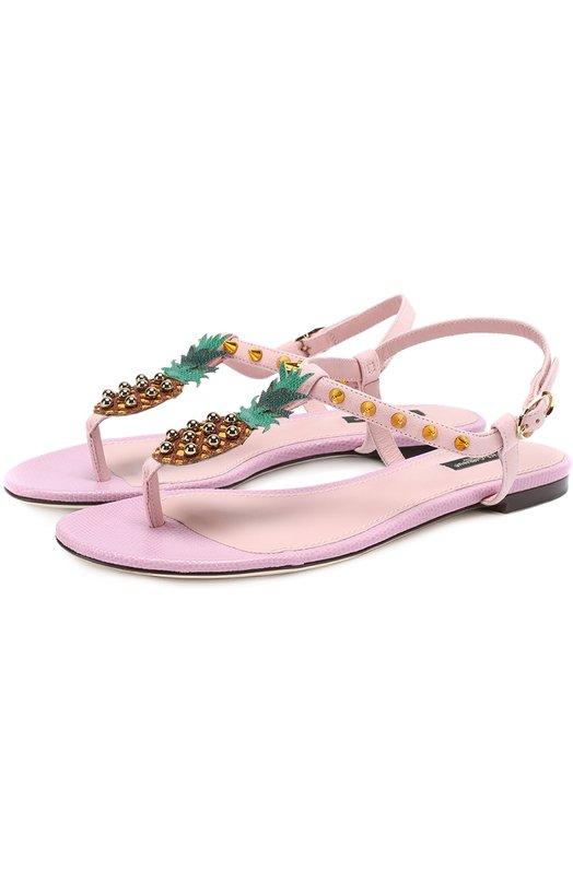 Замшевые сандалии с аппликацией и заклепками Dolce & Gabbana 0112/CQ0135/AG516