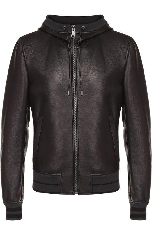 Кожаный бомбер на молнии с капюшоном Dolce & Gabbana 0101/G9HQ2L/FUL8M