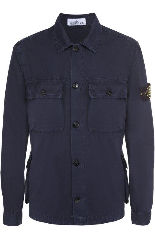 Хлопковая рубашка с накладными карманами Stone Island 6615119WN