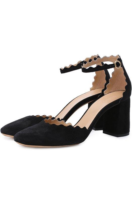Замшевые туфли Lauren с ремешком на щиколотке Chloe CH27002/E01