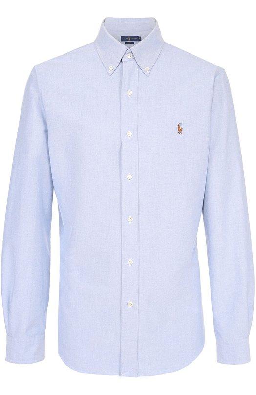 Хлопковая рубашка с воротником button down Polo Ralph Lauren A04/WSL3P/C5179