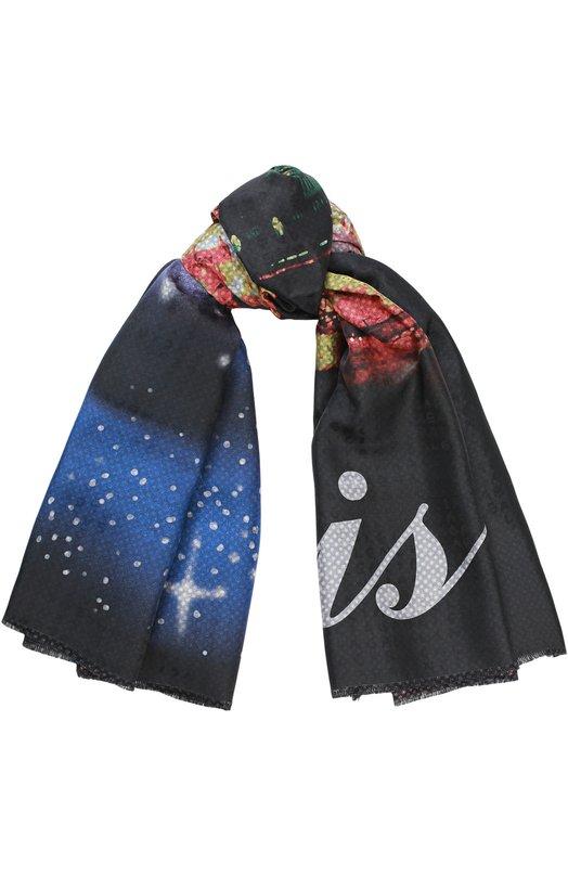 Купить Шелковый платок с принтом Balenciaga, 452213/301B2, Италия, Черный, Шелк: 100%;