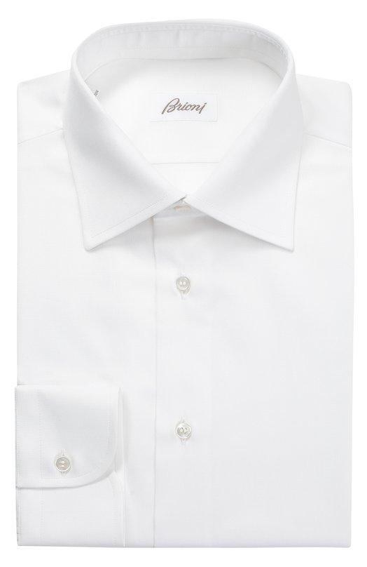 Купить Хлопковая сорочка с воротником кент Brioni, RCL9/PZ003, Италия, Белый, Хлопок: 100%;