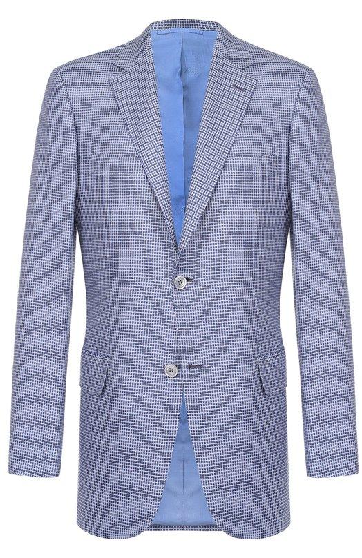 Купить Однобортный пиджак в клетку из смеси шерсти и шелка Brioni, RGH0/P6A6A/PARLAMENT0/2, Италия, Голубой, Шерсть: 51%; Шелк: 49%; Подкладка-купра: 100%;