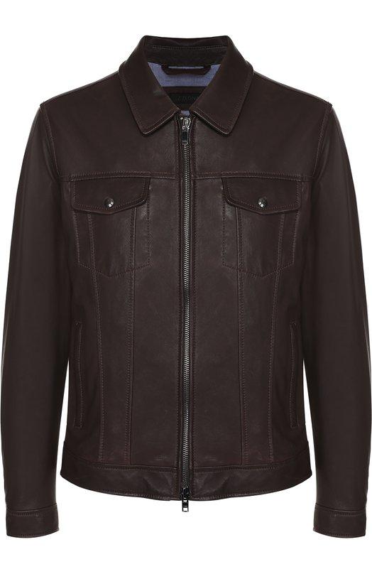 Кожаная куртка на молнии с отложным воротником Z Zegna VM075ZZ942