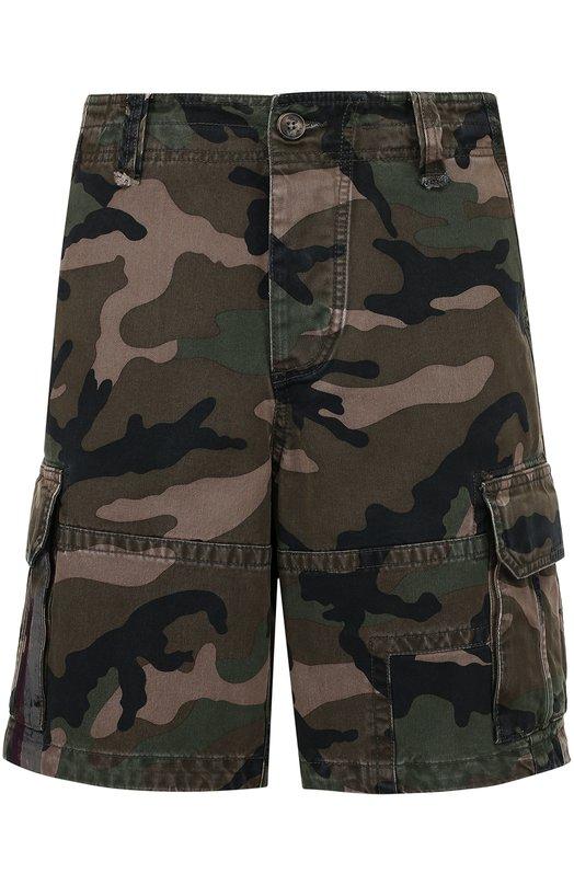 Хлопковые шорты с камуфляжным принтом Valentino MV3RD595/43S