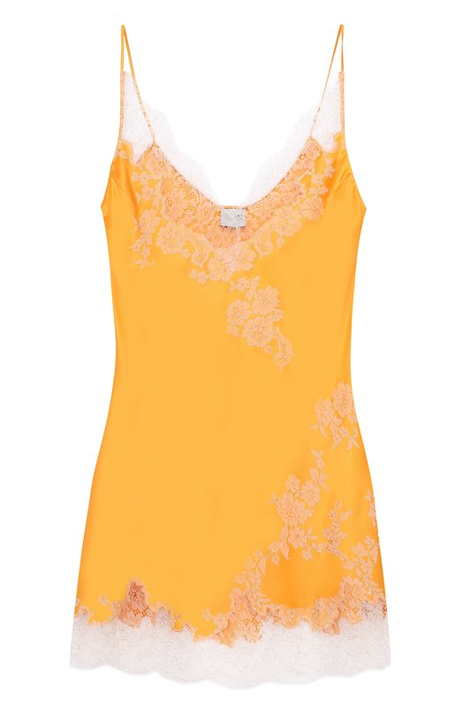 Купить Шелковая сорочка с контрастной кружевной отделкой Carine Gilson, C00418GN-C17, Бельгия, Оранжевый, Шелк: 100%;