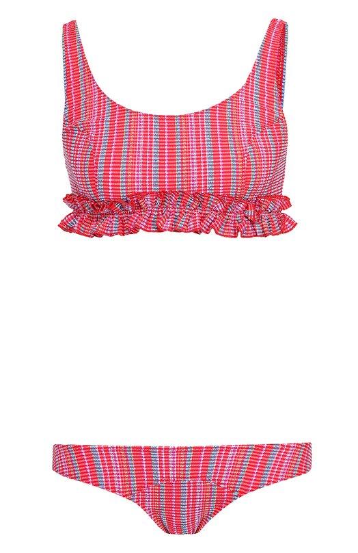 Раздельный купальник с контрастным принтом и оборкой Lisa Marie Fernandez RES164