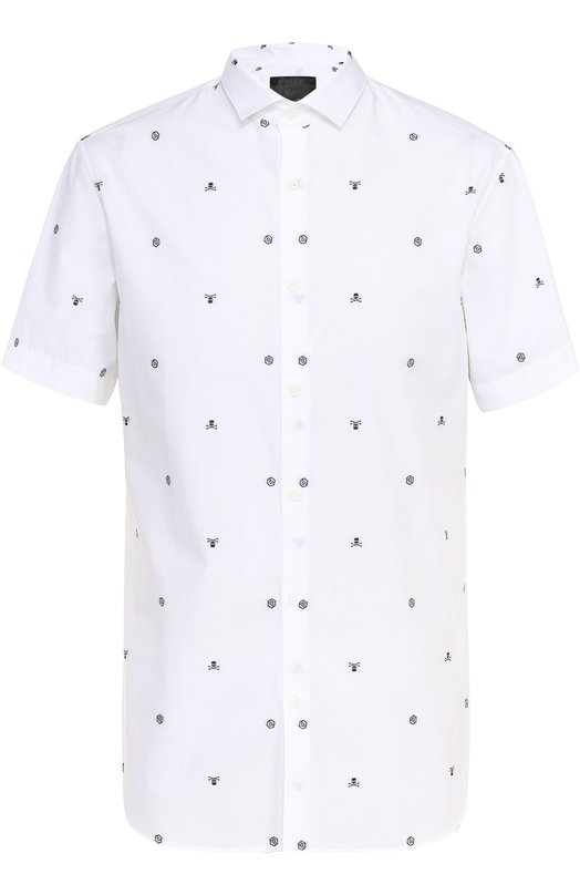Хлопковая рубашка с короткими рукавами и контрастной вышивкой Philipp Plein S17C MRP0007 PP0003N