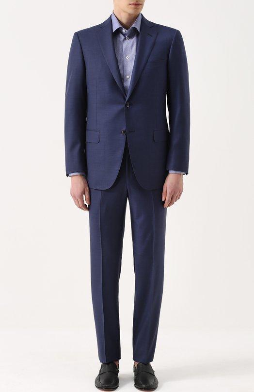 Купить Шерстяной костюм с пиджаком на двух пуговицах Pal Zileri, 93540/332/V22L/2, Италия, Синий, Шерсть: 100%; Подкладка-купра: 100%;
