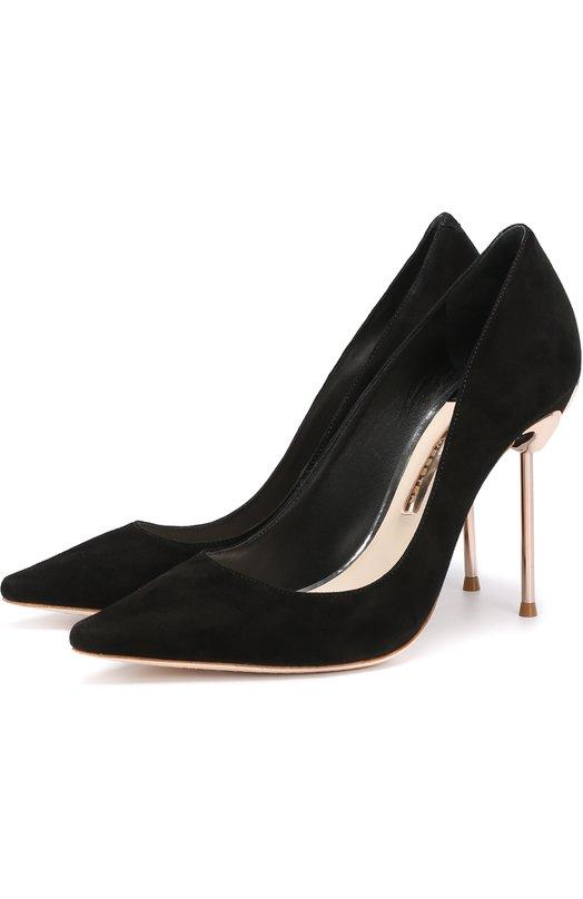 Купить Замшевые туфли на шпильке с декором Sophia Webster, C0C0 FLAMING0 PUMP, Бразилия, Черный, Стелька-кожа: 100%; Подошва-кожа: 100%; Замша натуральная: 100%;