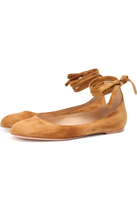 Замшевые балетки Carla с ремешками на щиколотке Gianvito Rossi G20421.05CU0.CAM
